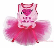 Little Valentine Heart Arrow Light Pink Top Hot Pink Skirt Pet Dog Puppy Dress
