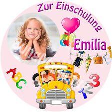 Tortenaufleger Schulanfang Einschulung Tortendeko mit Wunschtext und Bild (09)
