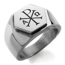 Stainless Steel Chi Rho Alpha Omega Symbol Mens Hexagon Crest Signet Ring
