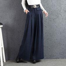 Retro Womens Loose Wide-Leg Pants Woolen Long High Waist Pleated Trousers Winter