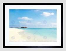 Marco Negro De Playa Tropical Caribe Mar Imagen de Impresión Arte Enmarcado B12X9479