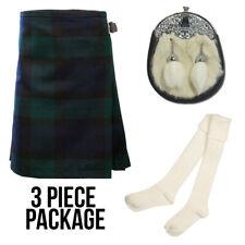 Enfants 3 Pièce Kilt packege avec chaussettes + sporran-Black Watch-Âge 0-12 ans