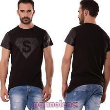 Maglietta uomo maglia maniche corte ecopelle diamante asimmetrica nuova ANT586