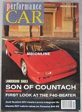 Performance Car 03/1990 featuring Audi Quattro, Lancia Integrale, Lamborghini