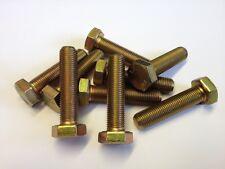 M10 x 1.0p x 40 FINE PITCH HEX SET BOLTS FULL THREAD 8.8 ZINC/YELLOW