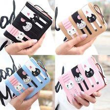 Damen Katze Geldbörse Portemonnaie Geldbeutel Portmonee Brieftasche Handytasche
