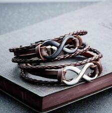 Bracelet noir marron en Cuir Infini Homme Femme Leather Bracelet Infinity Armban