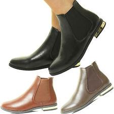 Nuevas señoras Plana Chelsea botín elástico Fuelle Pull a montar Zapatos De Tacón