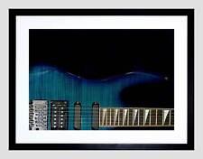 GUITAR CLOSE UP WOOD GRAIN BLUE MUSIC BLACK FRAMED ART PRINT PICTURE B12X9583