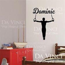 Gymnast Gymnastics Rings Boy Custom Name Wall Personalized Vinyl Sticker