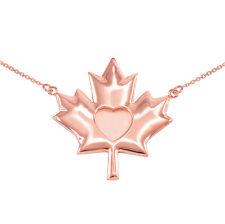 14k Fine Polished Solid Rose Gold Heart Maple Leaf Necklace