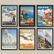 A4 Vintage Travel Posters: Swiss Suisse Switzerland Berne Montreaux Posters
