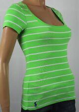 Ralph Lauren Green White Stripe Short Sleeve Knit Top Scoop Neck NWT