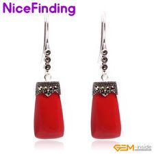 Rectangle Stone Dangle Hook Earrings Tibetan Silver Fashion Women Jewelry Gifts