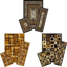 MODERN geometric ACCENT mat RUNNER area RUG 3 piece SET leopard PRINT carpet