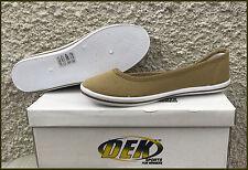 Womens Dek TAUPE Colour  Canvas Push On Pump Casual Ladies Flat Shoes Size 3 - 8