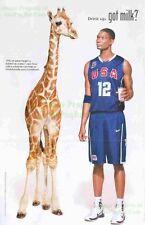 Got Milk? Chris Bosh w/ Giraffe: Team USA / NBA: Great Original Photo Print Ad!
