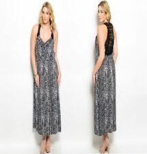LD16 Ladies Black Summer Beach Long Maxi Evening Party Plus Animal Print Dress