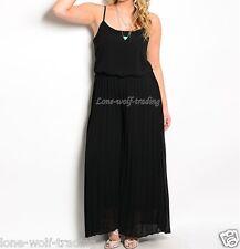 "Plus Size Sexy Ladies ""Black"" Pleated Wide Leg Jumpsuit-PJS-870"