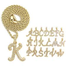 "Unisex Pave Initial Alphabet Letter Pendant 18"",20"",24"",30"" Rope Chain Necklace"