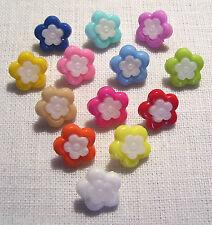 LOT de 6 BOUTONS FLEUR Coeur BLANC 15 mm - coloris au choix - Couture tricot