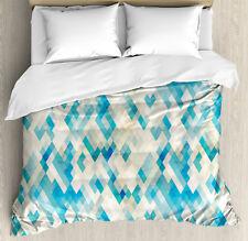 Blue Duvet Cover Set with Pillow Shams Hexagonal Abstract Grunge Print