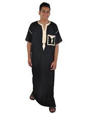 Herren-Kaftan Hauskleid mit Stick-Bordüren aus1001 Nacht , schwarz, KAM00525