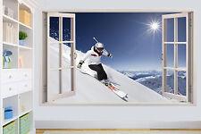 Sci Da Sci Neve Montagna su cielo soleggiato Muro Sticker Decorazione Per Soggiorno Decalcomania Murale