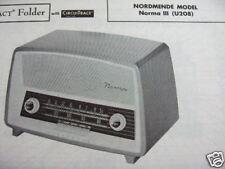 NORDMENDE NORMA III  U208 SHORTWAVE RADIO PHOTOFACT