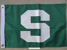 "12""X18"" MICHIGAN STATE MSU SPARTANS GREEN ""S"" FLAG DBL SIDED NYLON NCAA USA MADE"