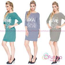 donna a righe mini abito LOVE stampa manica 3/4 CASUAL PARTY taglie 8-12 6578