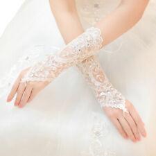 Premium Lace Floral Rhinestone & Sequin Fingerless Wedding Party Bridal Gloves