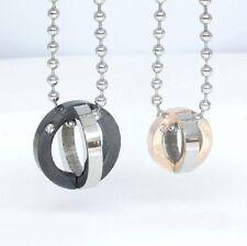 Collana per COPPIA CATENA CON CIONDOLO PARTNER di acciaio anelli doppelringe