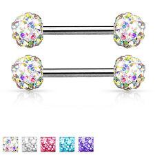 """Pair of Crystal Ferido Balls Surgical Steel Nipple Rings 14G 9/16"""""""