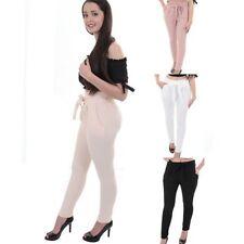 mujer elástico cintura alta Alí Babá Liso Elegante Con Textura Crepé Pantalones