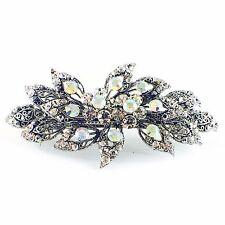 Vintage BARRETTE use Rhinestone Crystal Hair Clip Hairpin Victorian Flower Petal