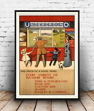 London Underground Travel Advertisement , poster reproduction.