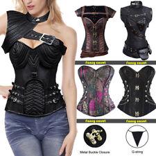 US Women Overbust Steampunk Dress Boned Corset Bustier Top SEXY Lingerie Shaper