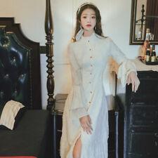 Women Retro Dress Princess Costume Lolita Fairy Maxi Gown Bell Sleeve Ruffle
