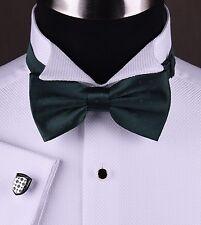 White Luxury Tuxedo Formal Shirt Wedding Evening Party Dinner Free Black Bow Tie