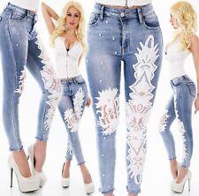 FEMMES HAUT TAILLE pantalon jeans skinny blanche crochet broderie ausgefranst