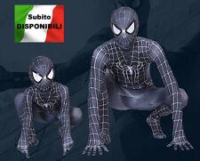 Spiderman Nero Costume Carnevale Simil Simbionte Bimbo Uomo Cosplay SPM011