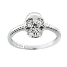 Sterling Silver 14k White Gold Skull w/ White Sapphire Ring