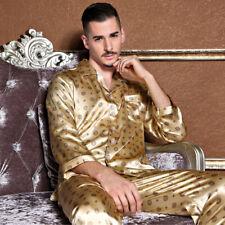 NEU Herren Pyjama Schlafanzug Seide Satin Langarm langer Hose Nachtwäsche M002