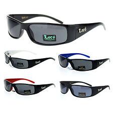 Locs Mens Narrow Rectangular Cholo Gangster Plastic Frame Biker Warp Sunglasses