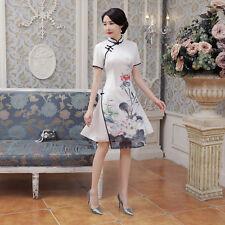 Chinese-style costume women's silk  cheongsam dress size S to 2XL