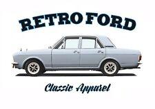 FORD CORTINA MK2 4 DOOR  t-shirt. RETRO FORD. CLASSIC CAR.