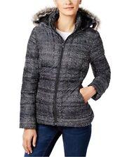 The North Face Womens Gotham Jacket Faux Fur Hood TNF Black Donegal Print Sz S-M