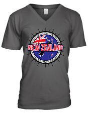New Zealand Flag Ball Born From Country Outline Team NZL NZ Men's V-Neck T-Shirt