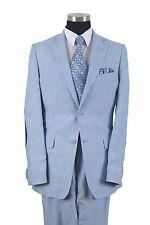 100% Linen Men's Luxurious Two Button Double Vents  Suit 613L Solid Blue